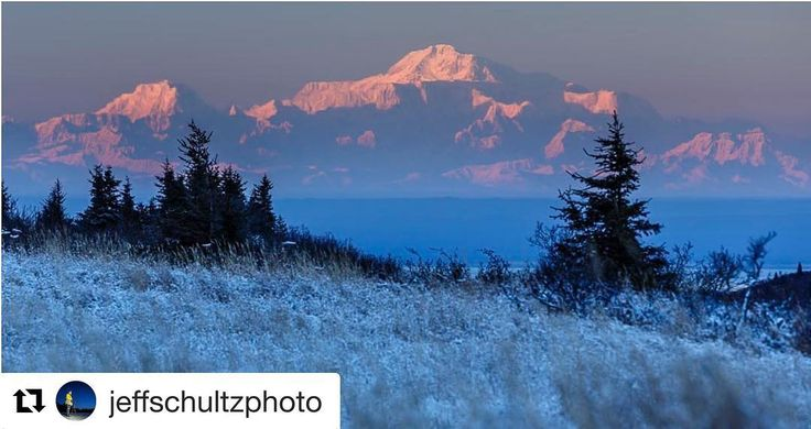 Beautiful shot of Denali! #Repost @jeffschultzphoto with @repostapp  Mountain McKinley as my son would say when he was younger.  Now of course Mount Denali. One of those clear winter evenings and the mountain is some 160 miles away from Anchorage where this was shot from. I was peddling back late in the evening after photographing moose in Chugach State Park. You can see a slight fata-morgana (inversion) affect as the mountain shoots straight up about 2/3 of the way up.  The inversion affect…
