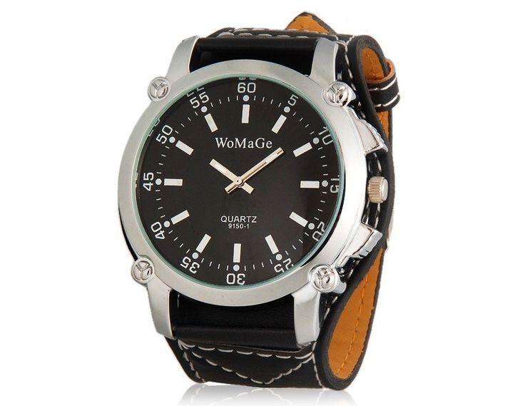 Black Water Resistant Quartz Wrist Watches Sport Analog Watch with Faux Leather Strap