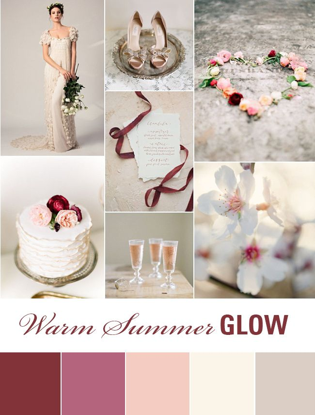 This summer wedding inspiration board combines warm neutral tones with pops of dark raspberry in the florals and decor: the perfect match for a hazy summer's day!