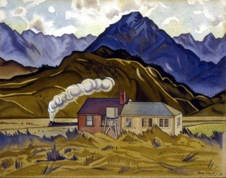 Rita Angus, Mountain Biological Station, Cass (1936) watercolour. Collection University of Canterbury</p>