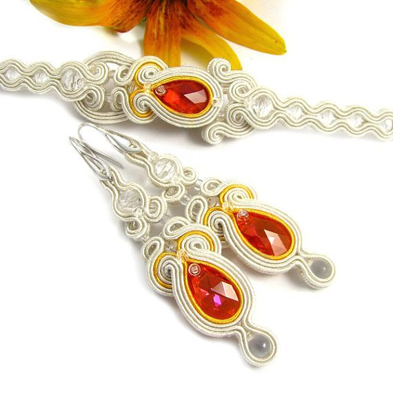 Wedding Bridal Jewelry Set Soutache Earrings and by byPiLLowDesign
