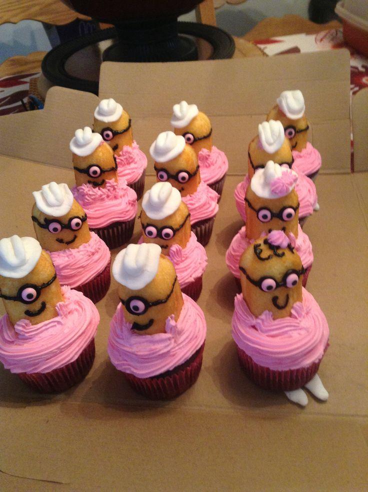 Pink minion cupcakes with fondant hats