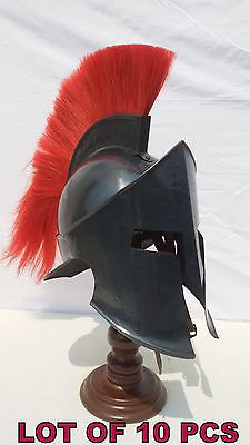MEDIEVAL KNIGHT ARMOR SPARTAN HELMET ROLE PLAY COSTUME RED PLUME LOT OF 10 PCS..