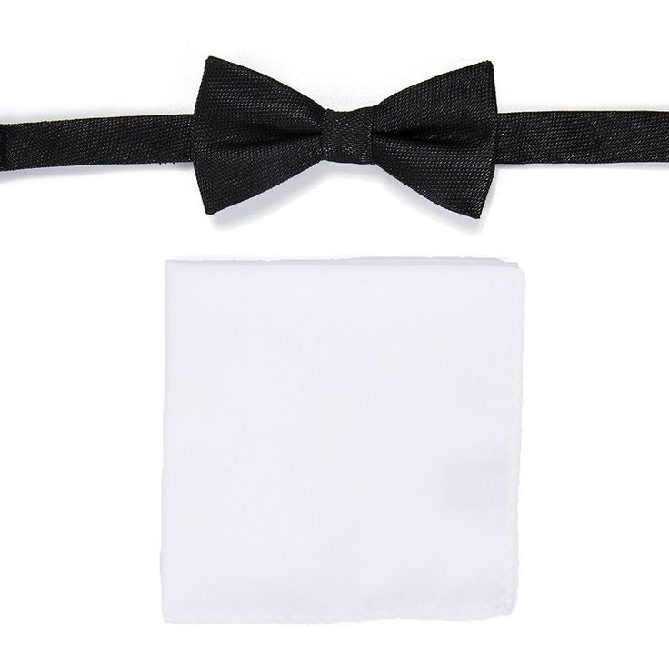 Men's Apt. 9® Pre-Tied Bow Tie and Pocket Square Set, Black