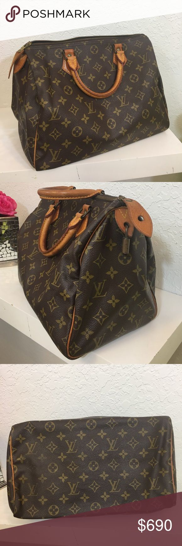 "Nice Louis Vuitton Speedy 30 Handbag Price is Firm✅ No Trade Closet ✅This authentic Speedy 30 vintage is in close to excellent condition!  1980's Monogrammed canvas is in close to excellent condition. See all photos close up. Clean, no smells, tears, or stains. Shows some signs of age on in inside pocket. Measurements: 12"" length.  Has working Key to lock. No papers. Feel free please to take to your local LV store also. They don't give papers but may validate for you also. Comes with dustbag…"