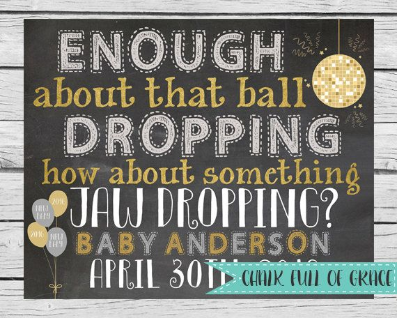 New Years Pregnancy Announcement  DIGITAL FILE by ChalkFullOfGrace