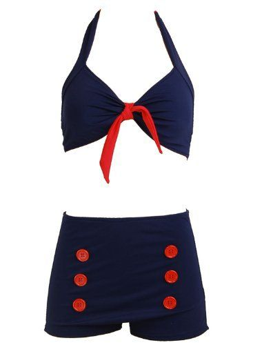 Navy Blue Retro Pin up Rockabilly Sailor Nautical Women's Bathing Suit Swimsuit Swimwear Bikini: