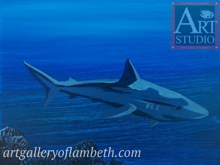Shark - one of many paintings London, Ontario Kids can learn to paint at the #AGLArtStudio #ldnont #Kids #Art #Painting #Birthday #Parties Register at http://artgalleryoflambeth.com/new-calendar-events-page/