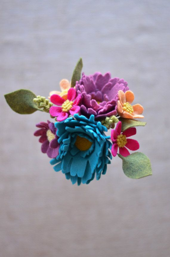 Peony Daisy & Wildflower Felt Flower Bouquet / by LeaphBoutique