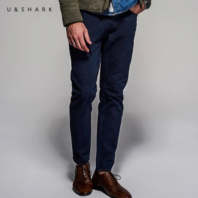 Check lastest price 2016 U&Shark Korean Street Fashion Skinny Navy Blue Pants Men Slim Fit Brand Cotton Urban Clothing Luxury Trouser Casual Male just only $21.66 with free shipping worldwide  #pantsformen Plese click on picture to see our special price for you