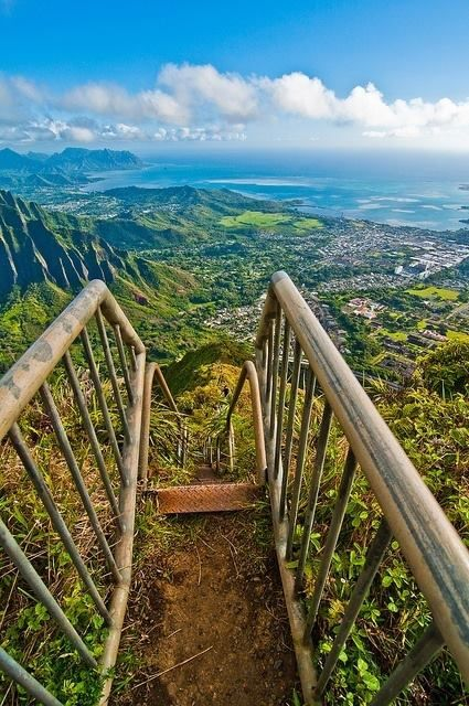 Above Kaneohe Bay?  Found this pin and believe it to be where I was one week ago, however at the bottom, in a car, driving to the airport for my journey home.