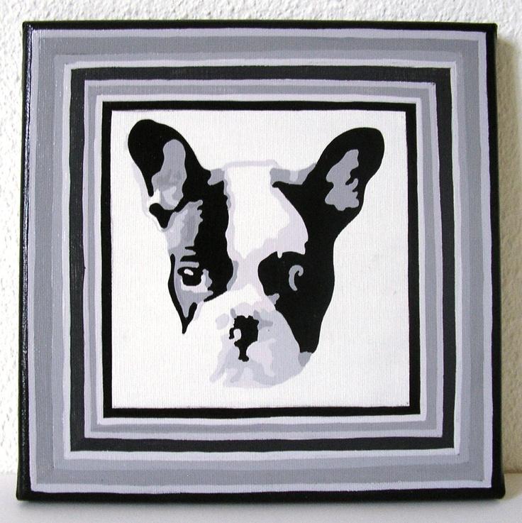 Tableau acrylique sur toile Bulldog - 20x20 cm - 20 € - Vendu