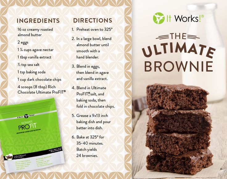 The Ultimate Brownies by It Works! Ingredients: 16oz Creamy Roasted Almond Butter 2 Eggs 1 1/4 Cups Agave Nectar 1 TBSP Vanilla Extract 1/2 TSP Sea Salt 1 TSP Baking Soda 1 Cup Dark Chocolate Chips 4 Scoops (8 TBSP) Rich Chocolate Ultimate ProFIT Directions: Preheat oven to 325º In a large bowl, blend Almond Butter until smooth with a hand blender. Blend in eggs, then blend Agave Nectar and Vanilla Extract. Blend in Ultimate Chocolate ProFit, salt & Baking Soda, then fold in Dark Chocolate…