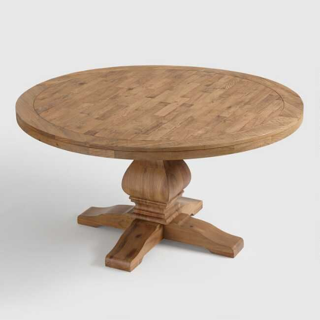 Round Gray Pine Wood Lisette Dining Table Dining Table Dining