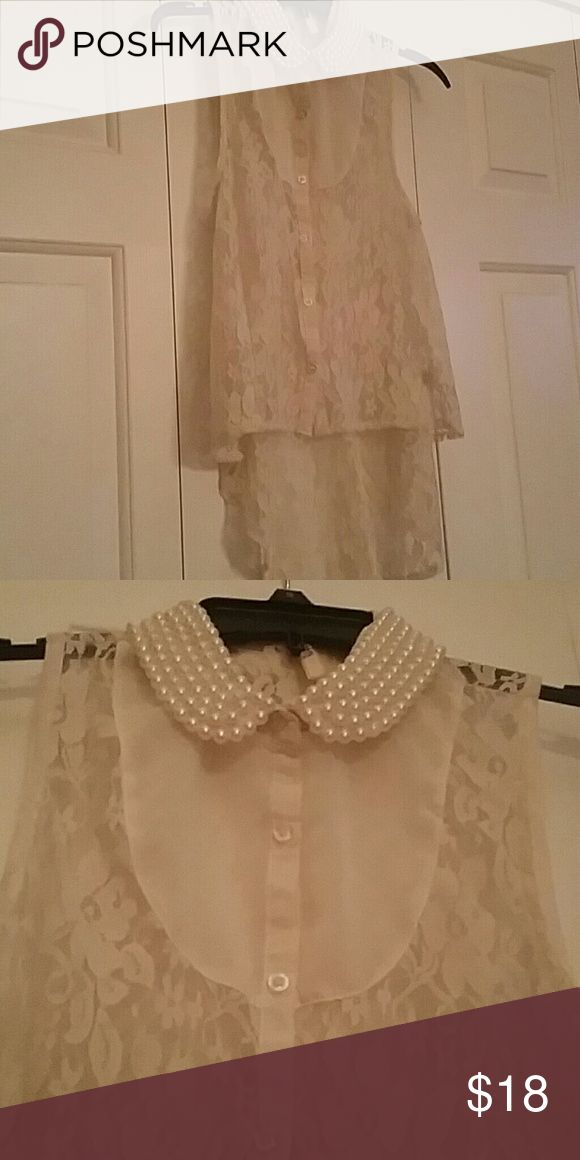 Pearl collar high low shirt this shirt instantly classes up any outfit! it gets so many compliments. *friendly reminder that all sales proceeds go to textbooks for me! so please buy or share to get the word out! I always share back! :) Tops Button Down Shirts