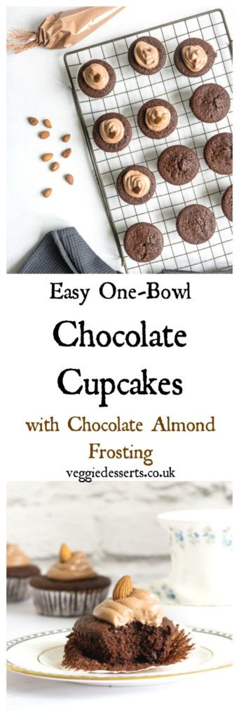 Easy Chocolate Cupcakes with Chocolate Almond Frosting | Veggie Desserts Blog >>> These easy chocolate cupcakes can be made in one bowl in 30 minutes! They're rich, moist, fluffy and absolutely delicious. I've topped them with chocolate almond frosting for extra flavour. >>> veggiedesserts.co.uk