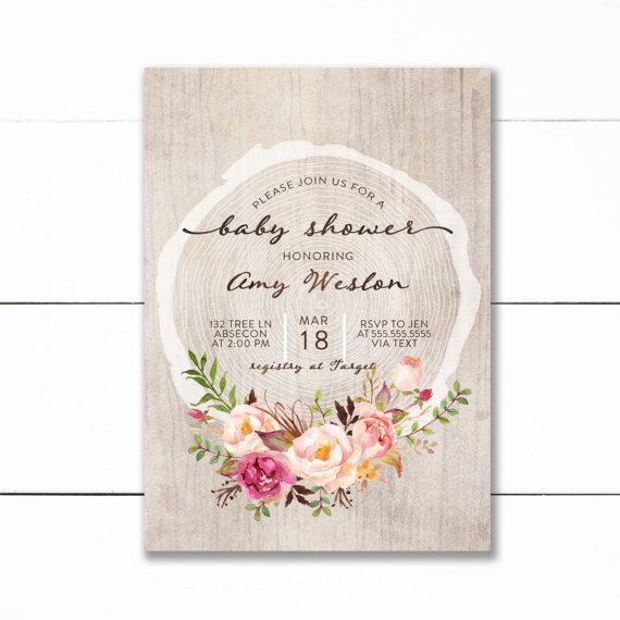 548 best little wild images on pinterest envelopes birthday rustic floral wood baby shower invitation wood slice floral shower invite vintage floral baby shower invitation floral bridal shower filmwisefo Image collections