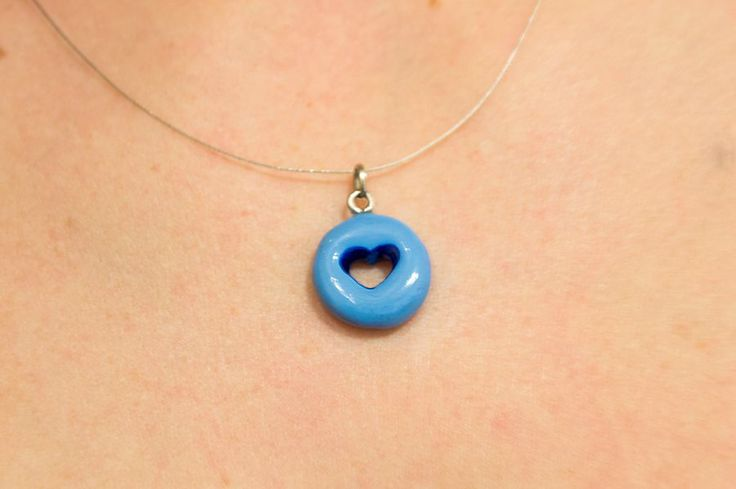 Blue heart clay necklace
