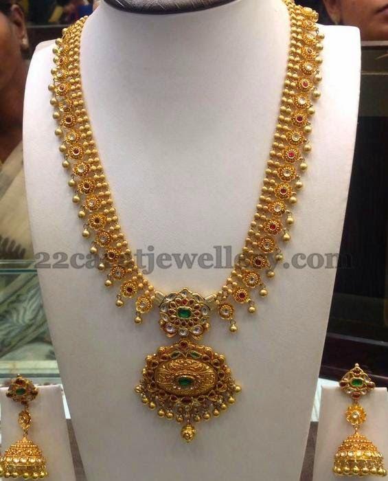 Jewellery Designs: Floral Motifs Antique Haar Jhumkas