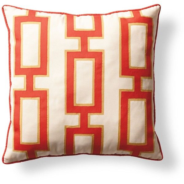 Oversized Mid-century Link Throw Pillow in Bright Red (540 TWD) ❤ liked on Polyvore featuring home, home decor, throw pillows, red throw pillows, red accent pillows, red toss pillows, square throw pillows and metallic throw pillows