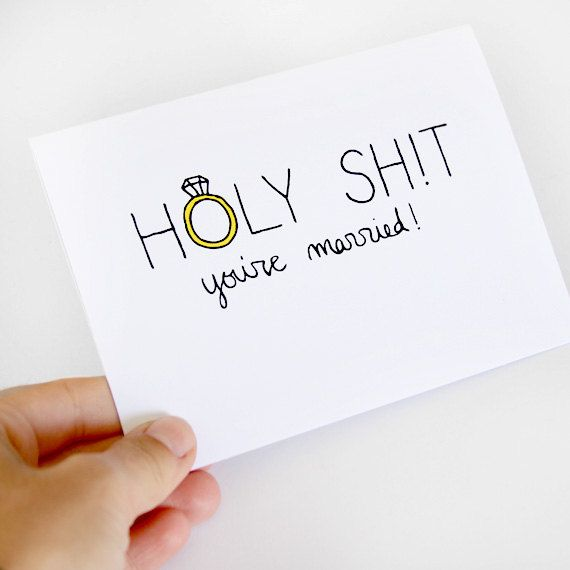"Wedding Congrats Card. Perfect card for holding your gift or attaching to it. Good for a hip, not-stuffy bride and groom, and it does say ""holy"" so great for religious couples too (maybe not...)."