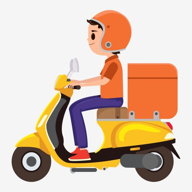 A Young Boy Riding An Orange Delivery Scooter Man Delivery