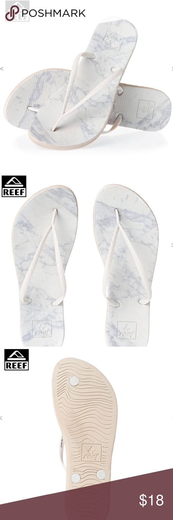 Reef Escape Lux Print White Sandal Flip Flop ❤️✨Feel free to make an offer! ✨❤️ ✨New with Tags!  White Lix marble print sandals made for extreme comfort!   Features: Women's Reef Flip Flops Fit: Regular fit Durable and soft Reef cushion rubber Eco friendly PVC free strap Reef logo detailing Abrasion resistant Textured footbed and outsole Material: EVA, rubber Reef Shoes Sandals