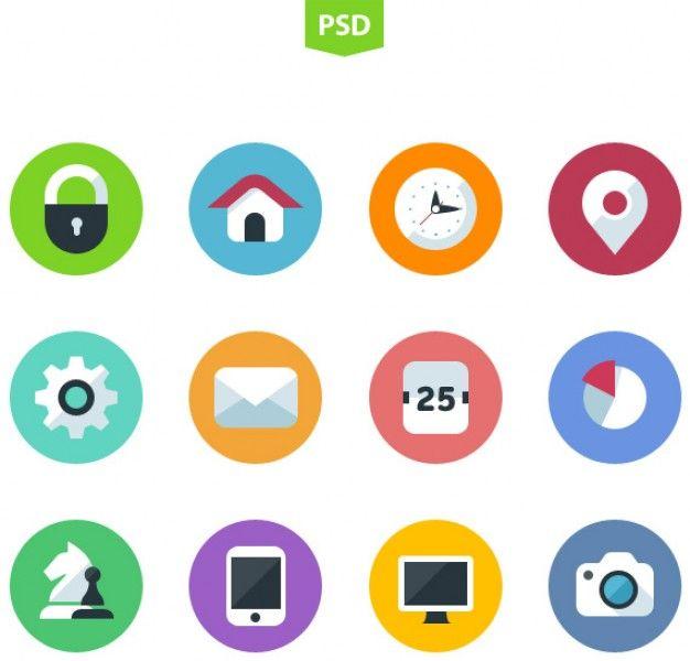 Iconos planos de diseño psd