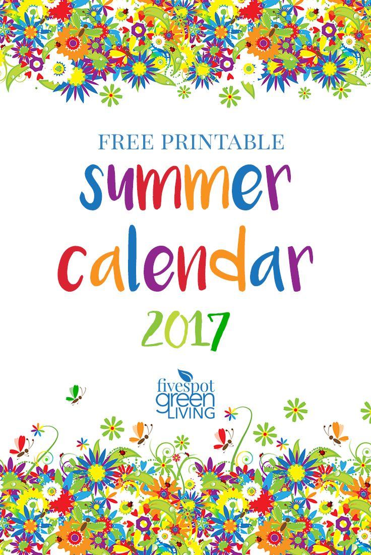 Summer Calendar 2017 Free printable summer calendar. | #InspirationSpotlight