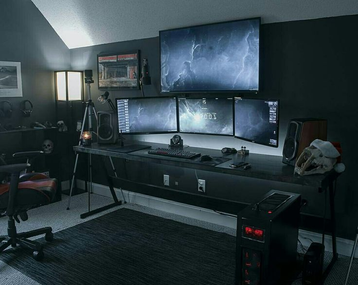 Epic gaming setup with four monitors