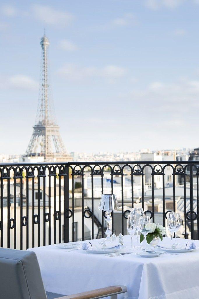 The Oiseau Blanc terrace restaurant at The Peninsula Paris hotel. [Courtesy Photo]
