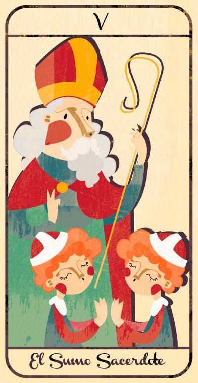 El Sumo Sacerdote: naipe de un Tarot infantil para niños pendiente de editar; La maqueta del mismo (un libro tutorial ilustrado cuya contraportada en forma de caja guarda en su interior las cartas) se puede visitar en el Museo del Tarot de Bélgica del coleccionista de Tarot Guido Gillabel. Autora Elena Catalán