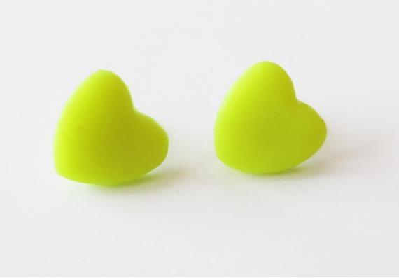 Neon Sarı Kalp Küpe