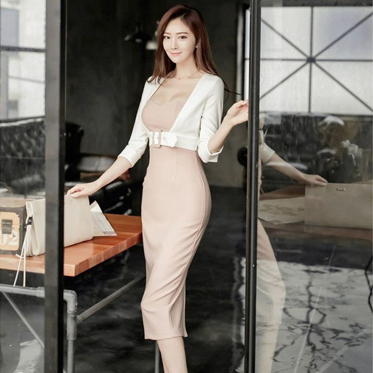 15af18a12dab 2017 New Spring high quality Office Sexy Bandage Bodycon Women Midi Elegant  Dress Vintage Party fake