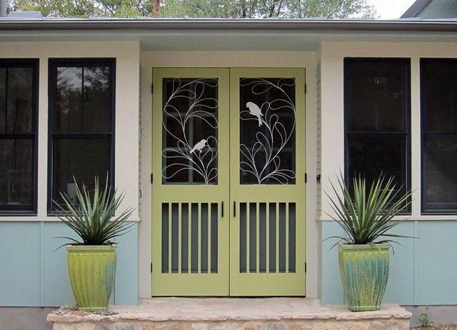 Decorative metal screen door inserts my porch for Decorative storm doors with screens