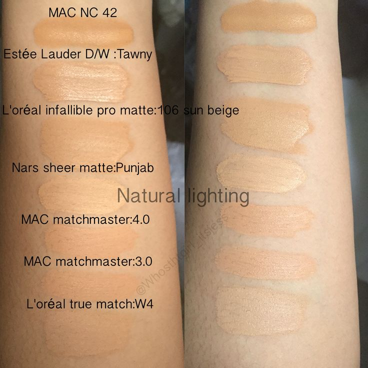 Part 2:Seasonal shades, Liquid foundation swatches (I highly recommend the Estée Lauder double wear and the L'oreal infallible pro matte for oily skin)  MAC NC 42 Estée Lauder Double wear Tawny  L'oréal infallible pro matte 106 sun beige  Nars sheer matte Punjab MAC matchmaster 4.0 MAC matchmaster 3.0 L'oréal true match W4