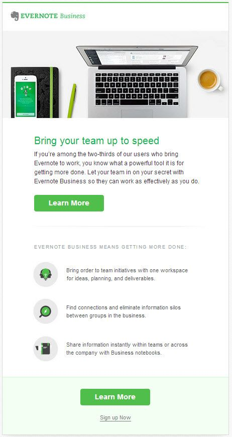 Clean email invite from evernote
