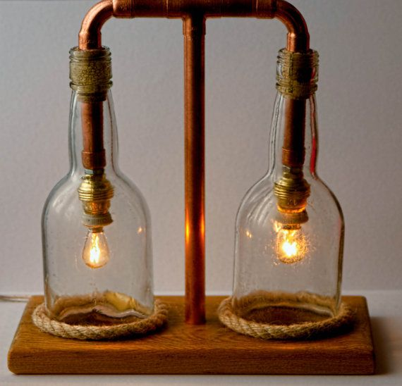 This is a custom made copper pipe bankers style desk lamp, with two blue glass Hemingray 42 insulators for the shades. Description from pinterest.com. I searched for this on bing.com/images