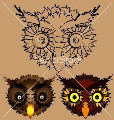 Heads of owls vector