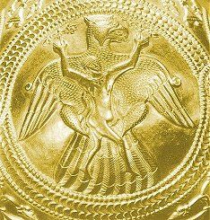 Gold vase detail illustrating the Turul legend (Hungary, 9th c. AD.