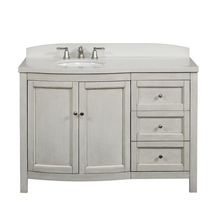 allen roth moravia antique white undermount bathroom vanity with engineered stone top 48 in
