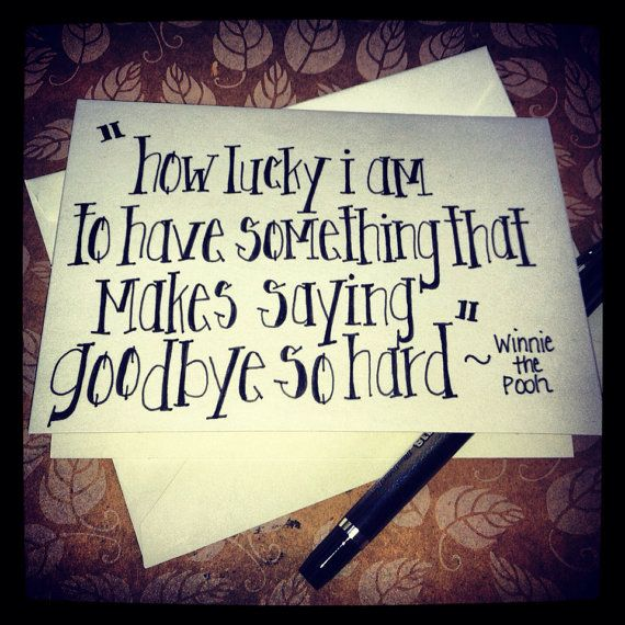 Pooh Quote About Saying Goodbye: Quotable Notecard-how Lucky I Am, Winnie The Pooh