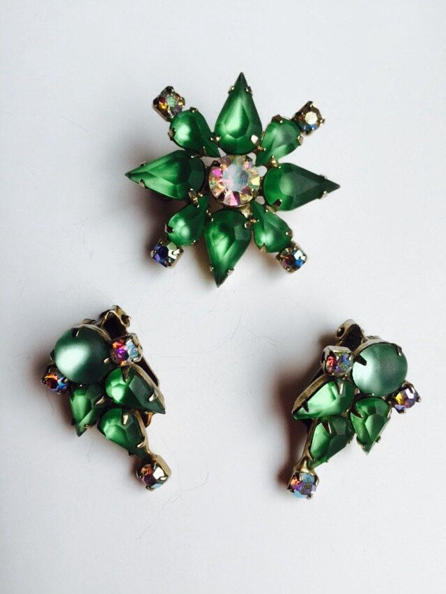 Mid Century brooch and Clips with Auroraborelis and Frosted Green Rhinestones/ Vintage Costume Jewelry by VintageVixens1 on Etsy