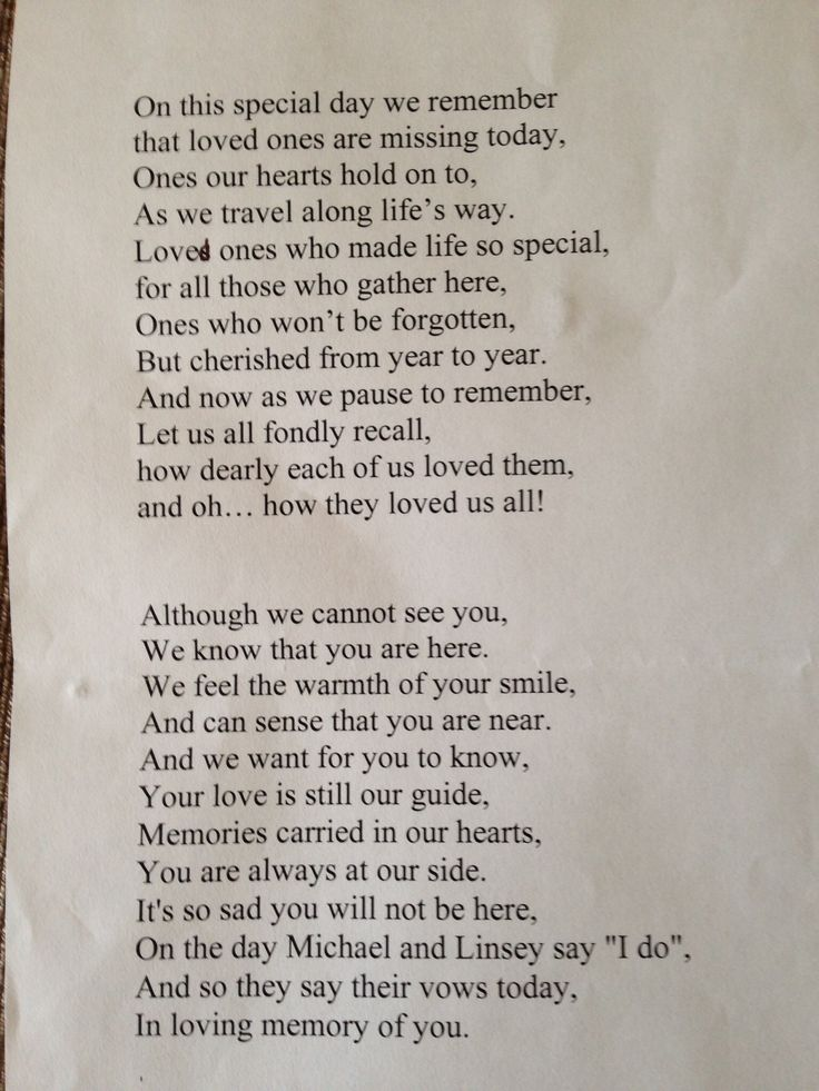 Remembrance poem read out by me at son's wedding, in memory of Mum and other grandparents sadly passed away x
