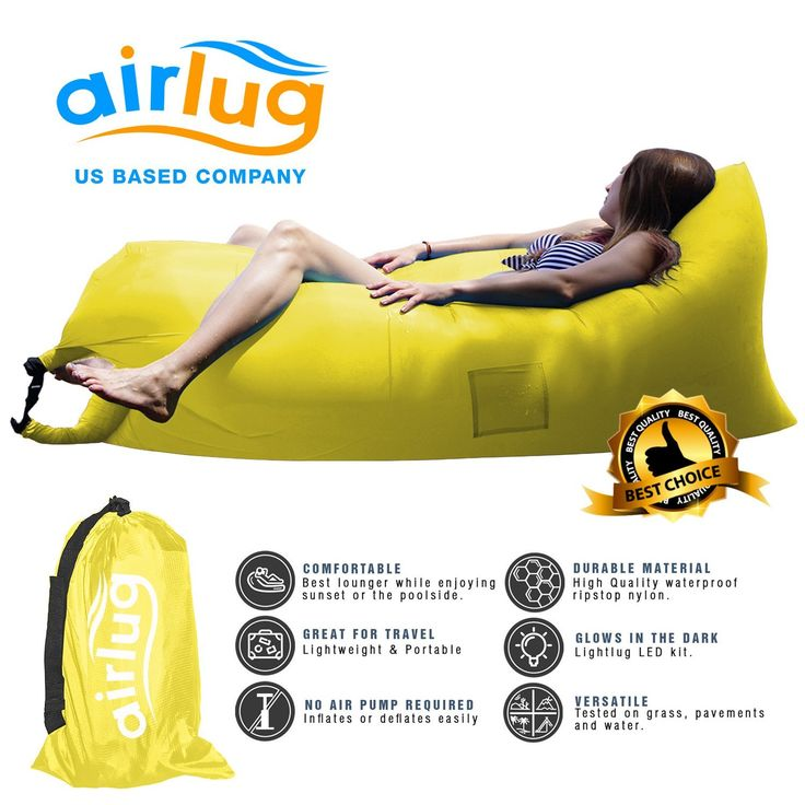 Luxury Inflatable Lounger Air Sofa by Airlug | No Pump Required | Inflates Instantly | Indoor and Outdoor Hangout Lounge | Air Bag Hammock Bean Bag for Beach Patio Pool Float Camping Portable Furniture >>> See this great image  : Camping Furniture