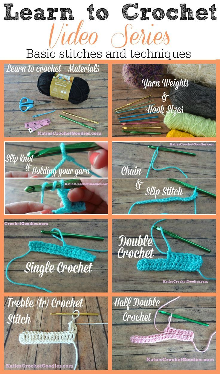 Learn to Crochet Video Series by Katie's Crochet Goodies - FREE! Basic stitches and techniques ----> http://www.katiescrochetgoodies.com/2013/09/learn-to-crochet-video-series.html