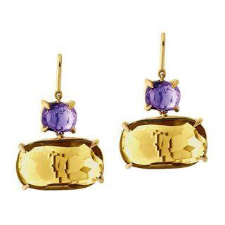 Marco Bicego Murano 18K Yellow #Gold #Amethyst & Citrine Drop #Earrings