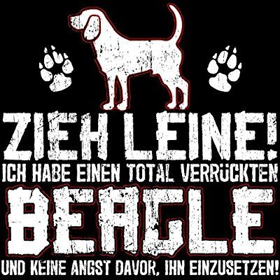 Fashionalarm Turnbeutel - Zieh Leine - verrückter Beagle | Fun Rucksack mit lustigem Spruch als Geschenk Idee Rasse Hunde Besitzer Züchter Gassi, Farbe:schwarz