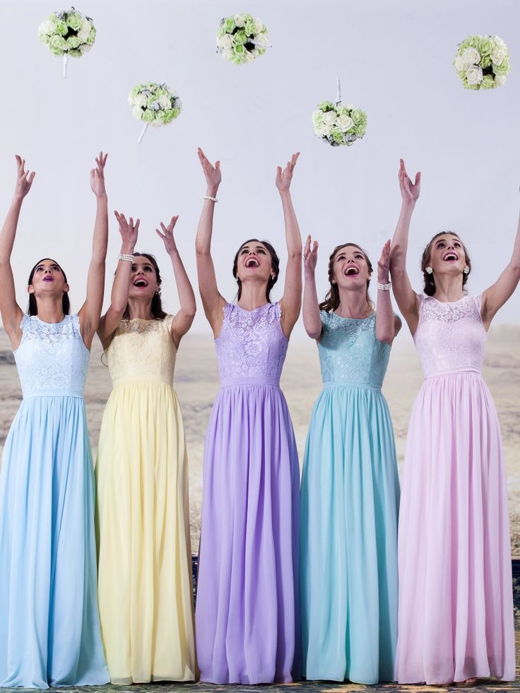 Lace and chiffon pastel bridesmaid dresses available in all sizes from @ForHerandForHim
