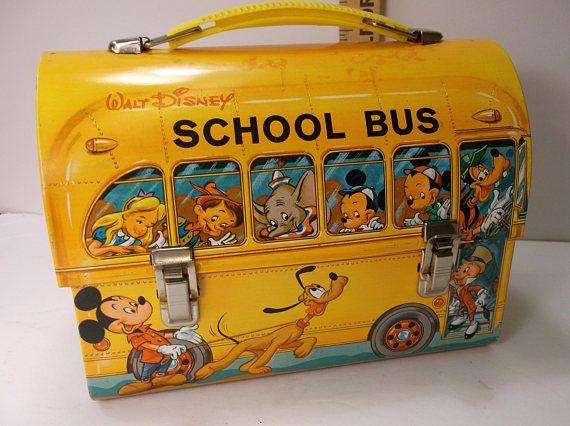 Rare Vintage 1961 Walt Disney Dome School Bus Metal Lunch Box